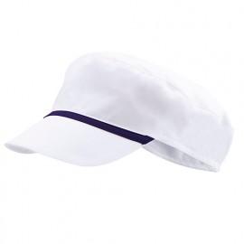 Bonnet casquette à visière agroalimentaire 65% polyester 35% coton 190 gr/m2 - Blanc/Bleu Marine - P254002 - Velilla