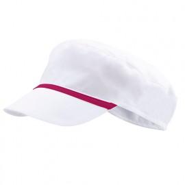 Bonnet casquette à visière agroalimentaire 65% polyester 35% coton 190 gr/m2 - Blanc/Bordeaux - P254002 - Velilla