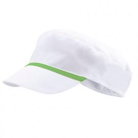 Bonnet casquette à visière agroalimentaire 65% polyester 35% coton 190 gr/m2 - Blanc/Citron Vert - P254002 - Velilla