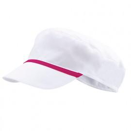 Bonnet casquette à visière agroalimentaire 65% polyester 35% coton 190 gr/m2 - Blanc/Fuchsia - P254002 - Velilla