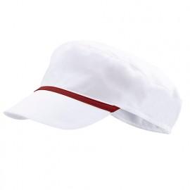 Bonnet casquette à visière agroalimentaire 65% polyester 35% coton 190 gr/m2 - Blanc/Grenat - P254002 - Velilla