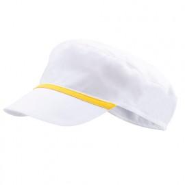 Bonnet casquette à visière agroalimentaire 65% polyester 35% coton 190 gr/m2 - Blanc/Jaune - P254002 - Velilla