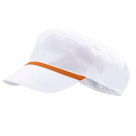 Bonnet casquette à visière agroalimentaire 65% polyester 35% coton 190 gr/m2 - Blanc/Orange - P254002 - Velilla