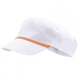 Bonnet casquette à visière agroalimentaire 65% polyester 35% coton 190 gr/m2 - Blanc/Orange Clair - P254002 - Velilla