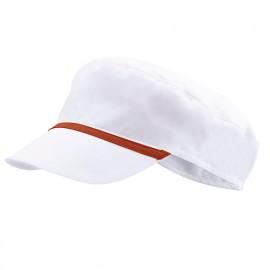 Bonnet casquette à visière agroalimentaire 65% polyester 35% coton 190 gr/m2 - Blanc/Rouge - P254002 - Velilla