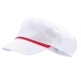 Bonnet casquette à visière agroalimentaire 65% polyester 35% coton 190 gr/m2 - Blanc/Rouge Corail - P254002 - Velilla
