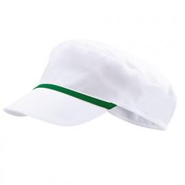 Bonnet casquette à visière agroalimentaire 65% polyester 35% coton 190 gr/m2 - Blanc/Vert - P254002 - Velilla