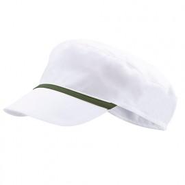 Bonnet casquette à visière agroalimentaire 65% polyester 35% coton 190 gr/m2 - Blanc/Vert Chasseur - P254002 - Velilla