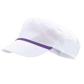 Bonnet casquette à visière agroalimentaire 65% polyester 35% coton 190 gr/m2 - Blanc/Violet - P254002 - Velilla