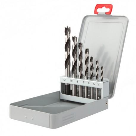Coffret métallique 7 mèches bois 3 pointes PRO D. 3, 4, 5, 6, 8, 10, 12 mm - 905D - Diager