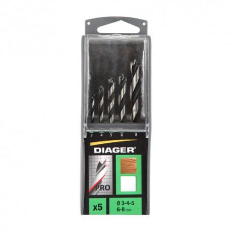 Coffret solo 5 mèches bois 3 pointes PRO D. 3, 4, 5, 6, 8 mm - 907B - Diager