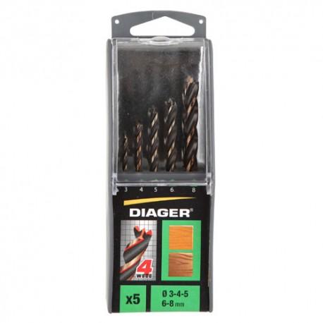 Coffret solo de 5 mèches hélicoïdales bois 4 pointes D. 3, 4, 5, 6, 8 mm - 910D - Diager