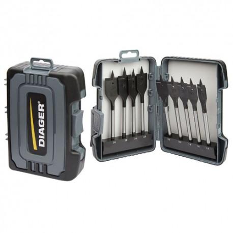 Coffret 9 mèches à bois plate quick-lock 6,35 mm D. 14 à 30 mm - 925C - Diager