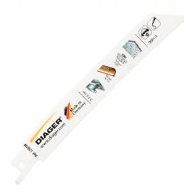 5 lames de scie sabre BIM pas de 1,8 x Lu. 130 mm métal/inox/cuivre POWER CURVE - L201ML1505 - Diager