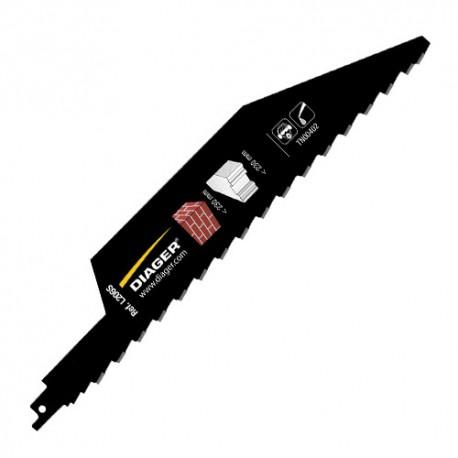 Lame de scie sabre carbure pas de 2,5 x Lu. 280 mm Spécial BRIQUE - L206SL3001 - Diager