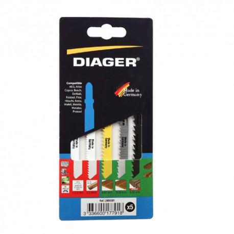 Assortiment 5 lames de scie sauteuse Bois/métal - LMIX001 - Diager