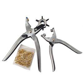 Pince emporte-pièces L. 250 mm et pince à oeillets L. 150 mm + 100 oeillets - Diamwood