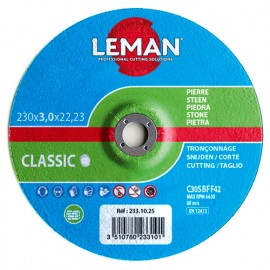 25 disques à tronçonner matériaux de construction, pierre à moyeu déporté - D. 115 x Al. 22,23 x Ep. 3 mm - 113.10.25 - Leman
