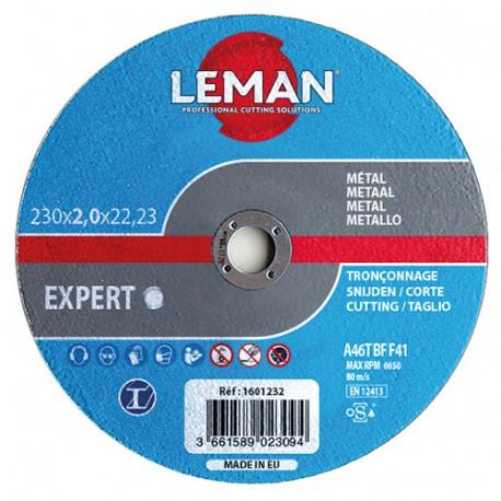 25 disques à tronçonner métal à moyeu plat - D. 115 x Al. 22,23 x Ep. 1 mm - 1601110 - Leman
