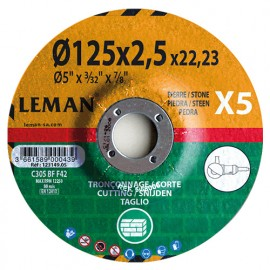 5 disques à tronçonner matériaux de construction, pierre à moyeu déporté - D. 125 x Al. 22,23 x Ep. 2,5 mm - 123149.05 - Leman