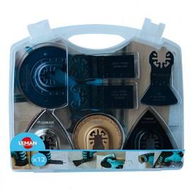 Coffret de 12 accessoires multi- matériaux pour outil oscillant - 4500.12 - Leman