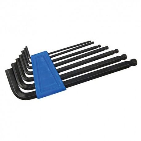 7 clés 6 pans à tête sphérique de 2,5, 3, 4, 5, 6, 8 et 10 mm - HK12 - Silverline