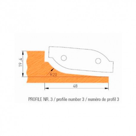 Jeu de 2 plaquettes profil N°3 APF160F3 pour APF160 - Holzmann