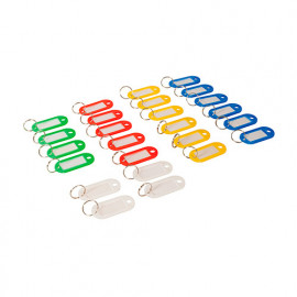 25 porte-clés à étiquettes de couleurs assorties (petit modèle) - 469135 - Silverline