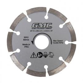 Disque diamant 9 segments D. 110 x Al. 22,23 x ép. 2 mm pour GTS1500 - 564293 - GMC