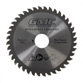 Lame de scie circulaire TCT D. 110 x Al. 22,23 mm x Z 40 dents pour GTS1500 - 586371 - GMC
