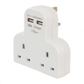 Adaptateur prise secteur avec 2 ports USB pour le Royaume Uni - 819066 - Powermaster