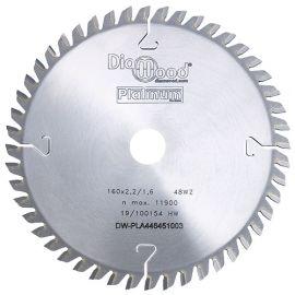Lame de scie circulaire HM finition D. 160 x Al. 20 x ép. 2,2 mm x Z48 Alt - Diamwood Platinum