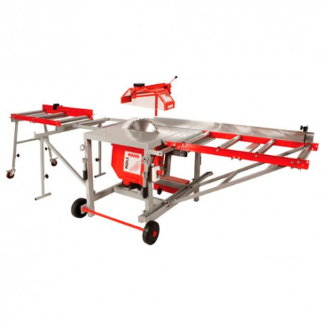 Scie circulaire de chantier industriel + rallonges de table à rouleaux TS400Z-400V+AL - Holzmann