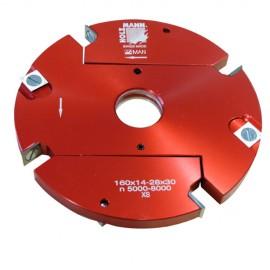 Porte-outil à feuillurer extensible D. 160 x 14 à 28 x Al. 30 mm Z4 + V4 VN160-2 - Holzmann