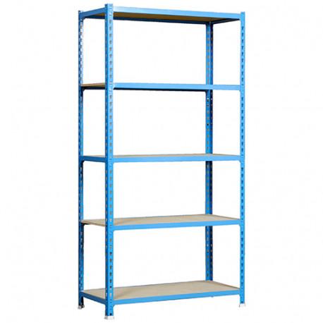 Etagère 5 niveaux 750 Kg L. 900 x Ht. 1800 x P. 400 mm KIT MADERCLICK 5/400 BLEU/BOIS - 448100025189045 - Simonclick