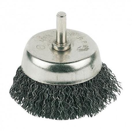 Brosse boisseau à fils d'acier ondulés D. 75 mm sur tige - PB04 - Silverline