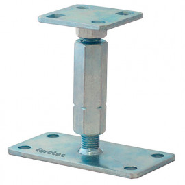 Pied de poteau réglable galvanisé bleu - Dim. 100 x 100 / 160 x 80 mm - Ht. 135 à 200 mm