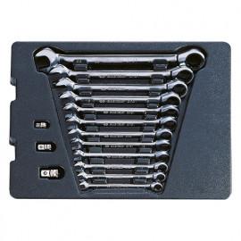 Thermoformé de clés mixtes à cliquet non réversible avec adaptateurs - 15 pièces - 8 à 22 mm
