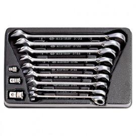 Thermoformé de clés mixtes à cliquet réversible avec adaptateurs - 12 pièces - 10 à 19 mm