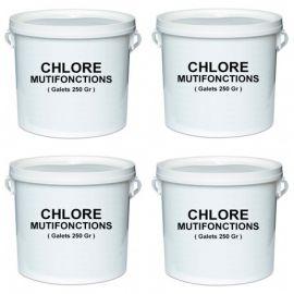 4 seaux de 5 Kg de chlore multifonctions en galet de 250 gr