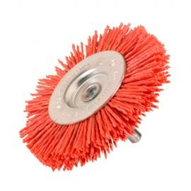 Brosse circulaire sur tige D.75 mm - Fils de 1,1 mm en nylon abrasif Gr 80 - 10314012 - Sidamo