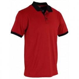 Polo maille piquée chinée bicolore - CHAUX - Rouge / Noir