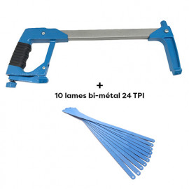 "Scie à métaux Pro ALU + 10 lames 300 x 13 mm Bi-métal 24 TPI ""usage intensif"" à coupe 45 ou 90° - Diamwood Platinum"