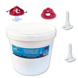Kit auto-nivelant à visser 200 pcs en seau 100 croisillons 1 mm + 100 cadrans - Spécial pose carrelage - Diamwood