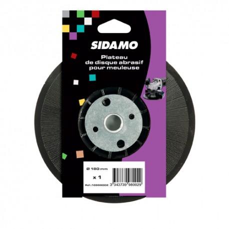 Plateau support caoutchouc D.180 mm avec écrou pour meuleuse M14 - 10998002 - Sidamo