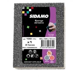 25 éponges à poncer 98 x 125 x 12 mm - 2 faces souples Gr 100 Fin - 10998034 - Sidamo