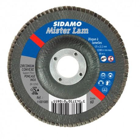 10 disques à lamelles zirconium D.125 x 22,23 mm Gr 40 Z Convexe Misterlam support fibre - 11001084 - Sidamo