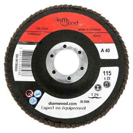 Disque/plateau bombé à lamelles corindon T29 D. 115 x 22,23 mm Gr 40 pour Métal, Bois - Diamwood