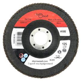 Disque/plateau bombé à lamelles corindon T29 D. 125 x 22,23 mm Gr 100 pour Métal, Bois - Diamwood