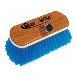 Brosse fibre médium bleue, protection caoutchouc